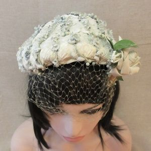 Accessories - Vintage Blue and White Flower Beaded Hat